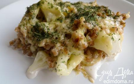 Рецепт Запеканка из гречи и цветной капусты под сырной корочкой
