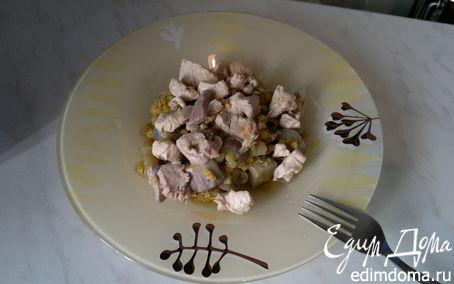 Рецепт Чечевица с баклажаном и чили перцем, мясо птицы с имбирем
