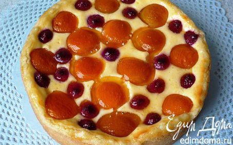Рецепт Малиново-абрикосовый пирог с творогом