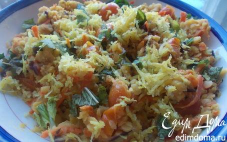 Рецепт Салат из красной чечевицы с овощами и зеленью