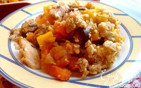 Рецепт Тыквенный крамбль с курицей и охотничьими колбасками