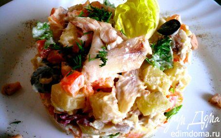 Рецепт Салат с копчёной рыбой