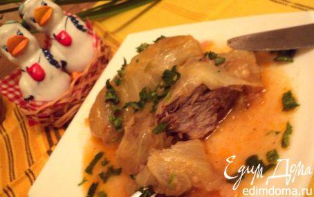 Рецепт Свиные ребрышки, тушеные в капусте