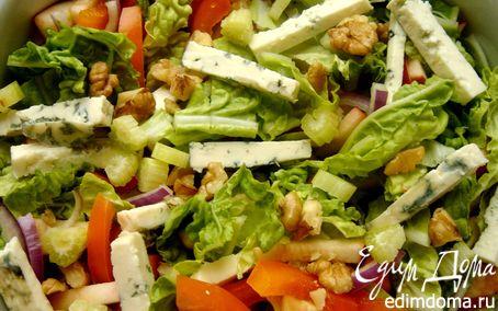 Рецепт Лёгкий салат с тыквенно-айвовой заправкой