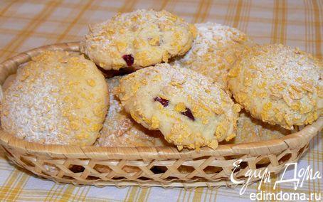 Рецепт Печенье с кедровыми орешками и клюквой в кукурузных хлопьях