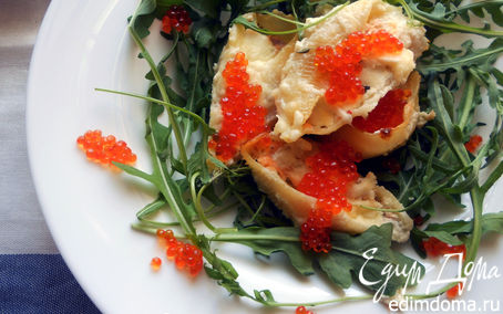 """Рецепт Паста """"ракушки"""" с муссом из семги, маскарпоне, руколы и красной икрой"""