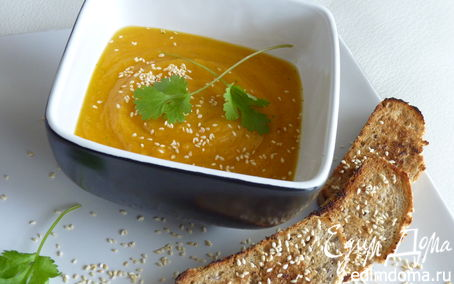 Рецепт Суп из тыквы, кунжута и имбиря