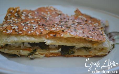 Рецепт Слоеный пирог с плавлеными сырками и зеленью