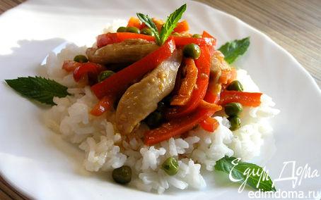 Рецепт Соте из курицы с овощами и мятой