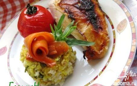 Рецепт Курица, фаршированная мраморным рисом, с глазированными овощами