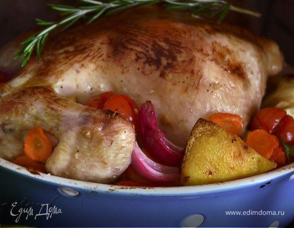 Горчично-медовая курица с овощами и розмарином