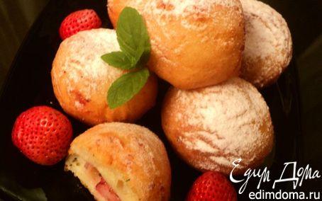 Рецепт Творожные пончики с клубникой