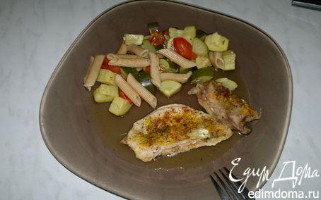 Рецепт Запеченная птица с пастой из цукини и помидоров черри
