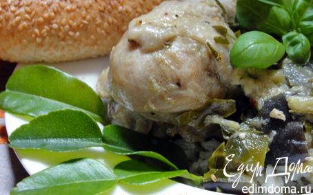 Рецепт Зеленое, горячее карри с баклажанами и курицей