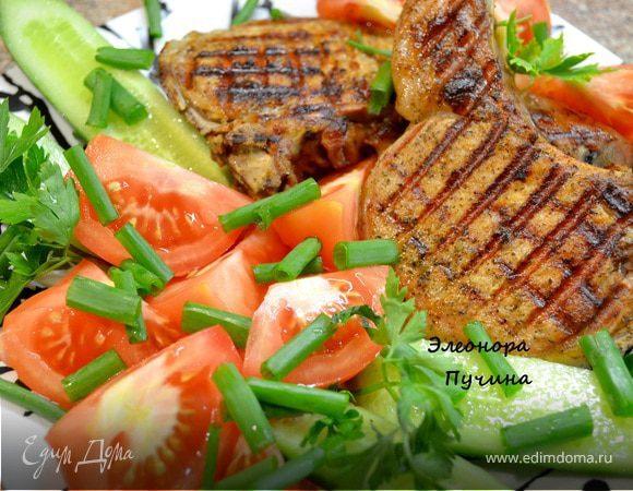 Свинина, обжаренная на сковородке-гриль