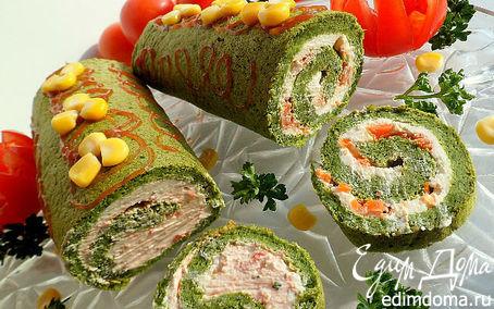 Рецепт Шпинатовый рулет со сливочным сыром и соленой семгой