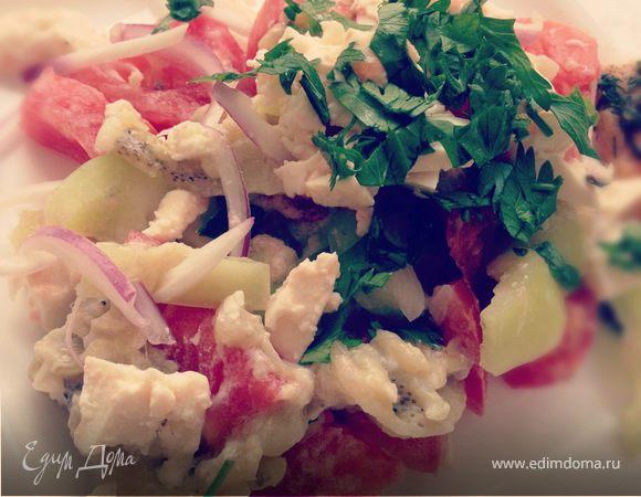 Салат с баклажанами, чесноком и адыгейским сыром