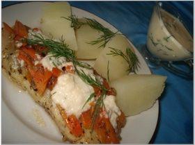 Морской язык с сырным соусом