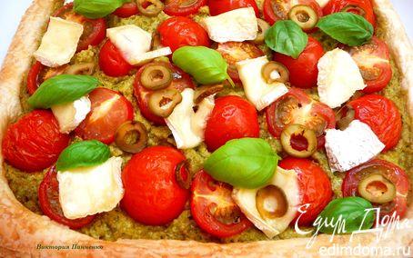Рецепт Пирог с помидорами и тапенадом из оливок