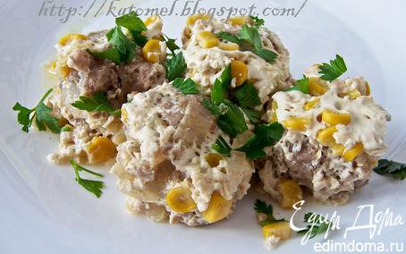 Рецепт Тефтели в сливочном соусе с кукурузой