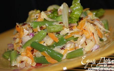 Рецепт Теплый салат с фасолью и шампиньонами