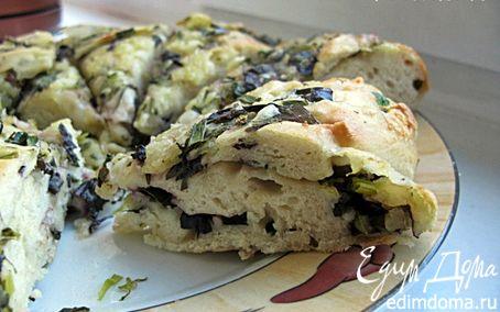 Рецепт Лепешка с зеленью и моцареллой