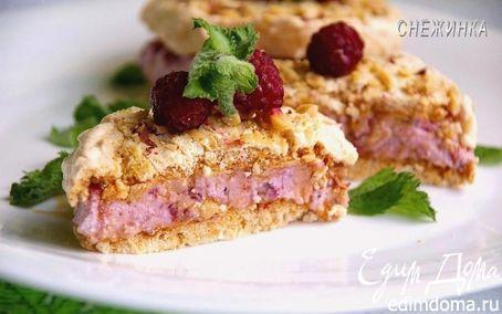 Рецепт Пирожное-безе со сливочно-творожно-малиновым кремом