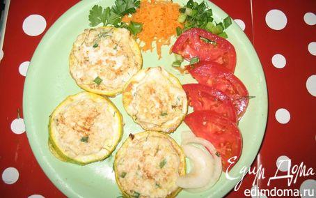 Рецепт Кабачковые колечки с куриным фаршем или творогом