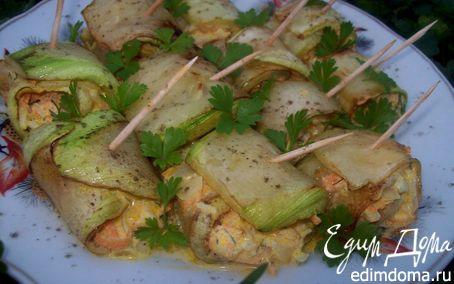 Рецепт Рулетики из кабачков с морковной начинкой