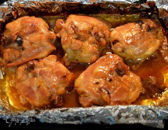 Куриные бедрышки в абрикосово-дижонской глазури