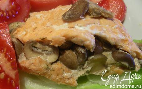 Рецепт Запеченные рулетики из лосося/семги с грибами