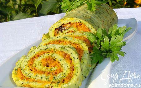 Рецепт Рулет из цукини с морковно-грибной начинкой