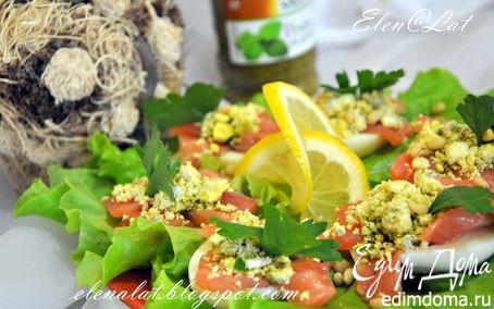 Рецепт Яичная закуска с лососем и соусом песто