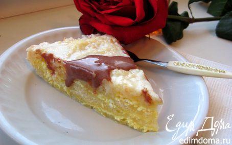 Рецепт Слоеный пирог с творогом и сладкой заливкой
