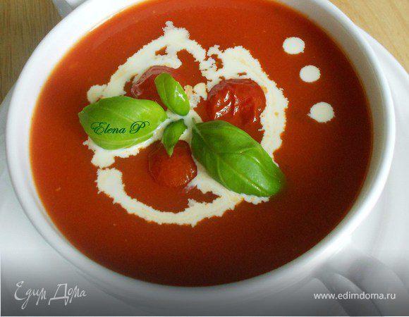 Томатный суп с запеченными черри