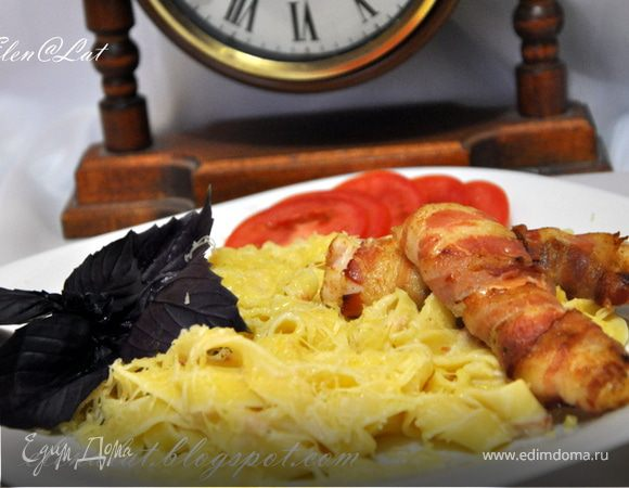 Паста карбонара + бонус куриное филе в беконе