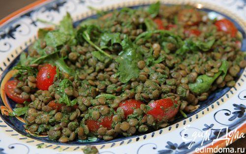 Рецепт Салат из чечевицы с помидорами черри и сальса верде
