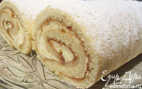 Рецепт Бисквитный ванильно-абрикосовый рулет
