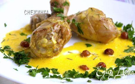 Рецепт Куриные ножки в соусе из белого вина с розмарином и изюмом