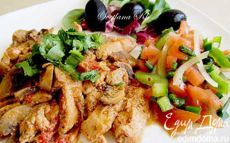 Рецепт Куриное филе с грибами по-строгановски