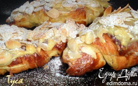 Рецепт Круассаны - пирожные с кондитерским кремом и лепестками миндаля