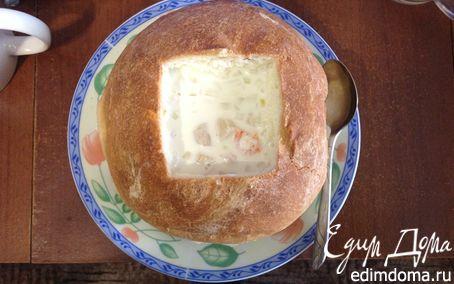 Рецепт Крем-суп из морепродуктов в хлебе