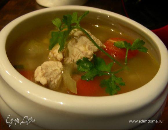 Куриный суп из фенхеля и кабачков