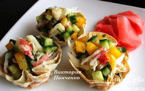 Рецепт Хлебные корзинки с легким крабовым салатом
