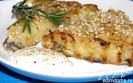 Рецепт Драники с грибами и кунжутом, запеченные в духовке
