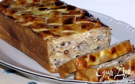 Рецепт Блинный пирог с мясом и грибами