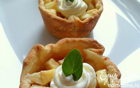 Рецепт Тарталетки с яблоками, орехами и крем-фрешем