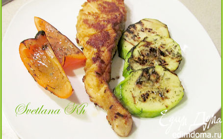 Рецепт Семга в имбирном маринаде и овощи-гриль на плите