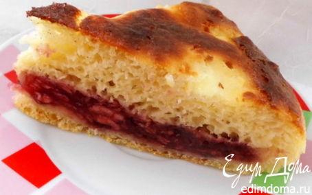 Рецепт Пирог из дрожжевого оладьевого теста с яблоками и джемом