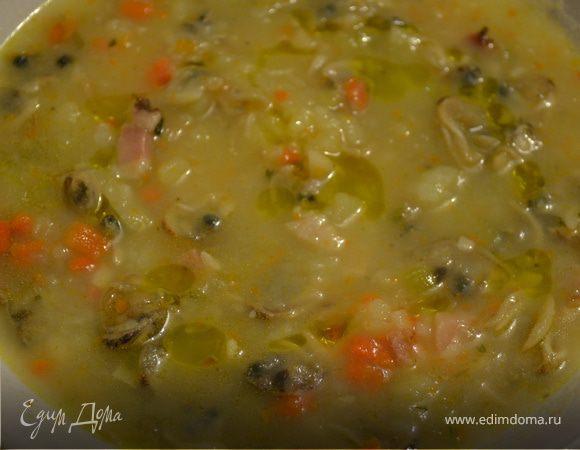 Супчик с моллюсками и беконом (Zuppetta di vongole)